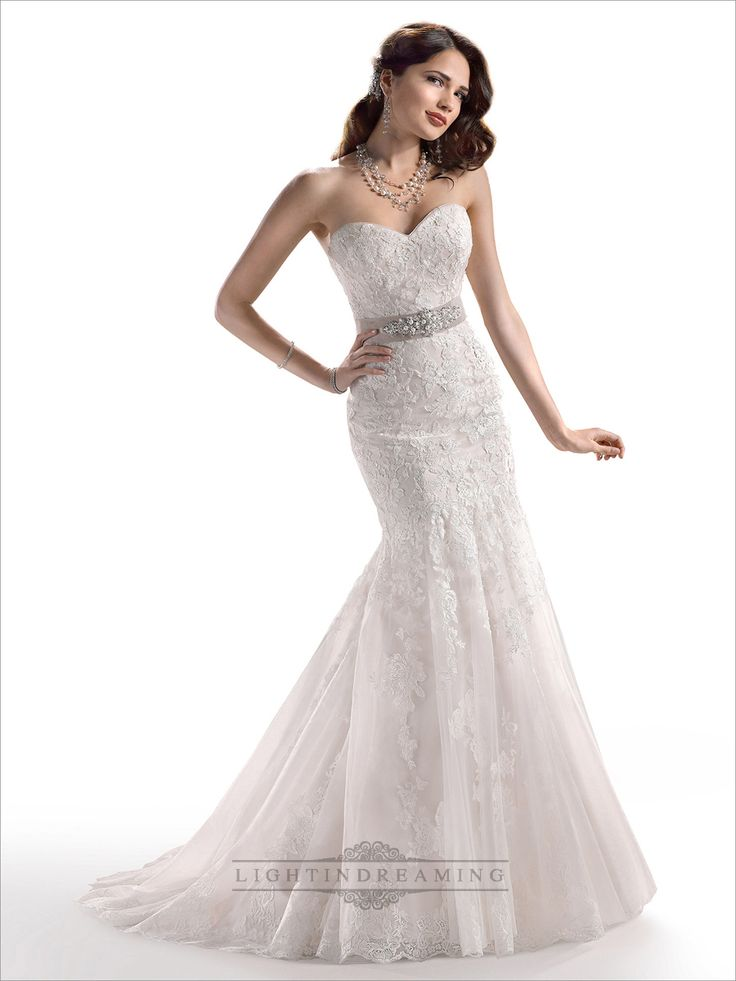 Strapless Sweetheart Mermaid Lace Embroidered Wedding Dress with Beaded Belt