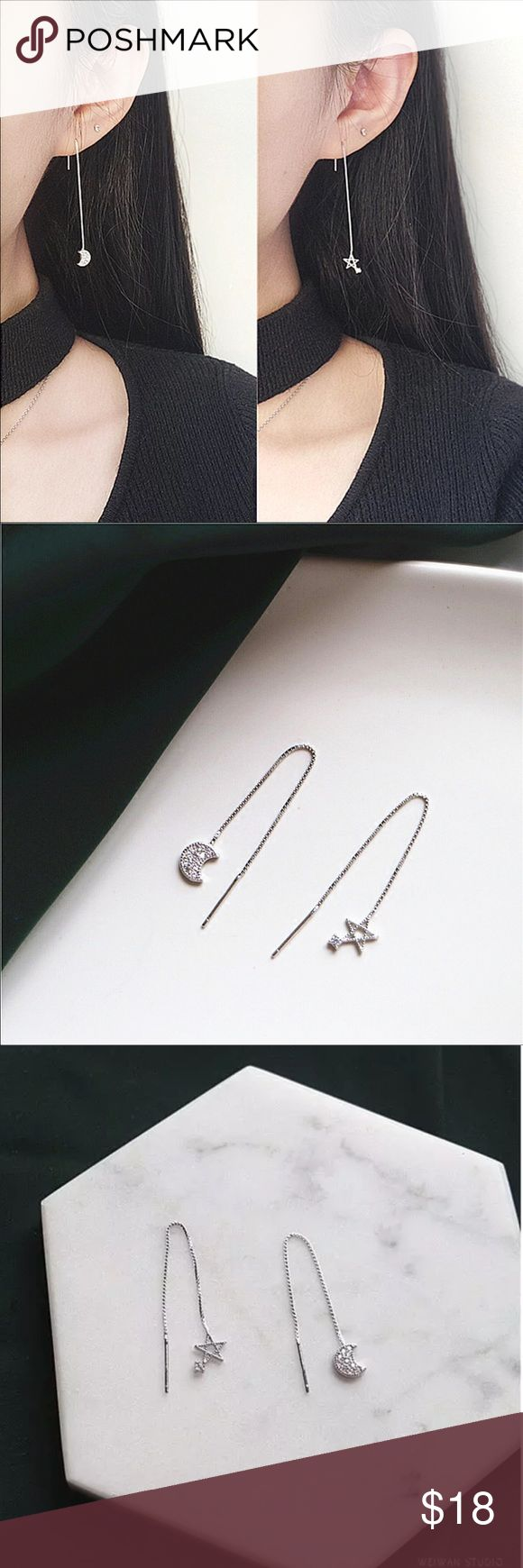 Women moon and star asymmetric design earring Brand new! Made of 925 sterling silver. Length 2.75 inches. Price is firm! No trade! If it's been sold out, welcome to leave messages for ordering. Usually it takes 2-4 weeks. Jewelry Earrings