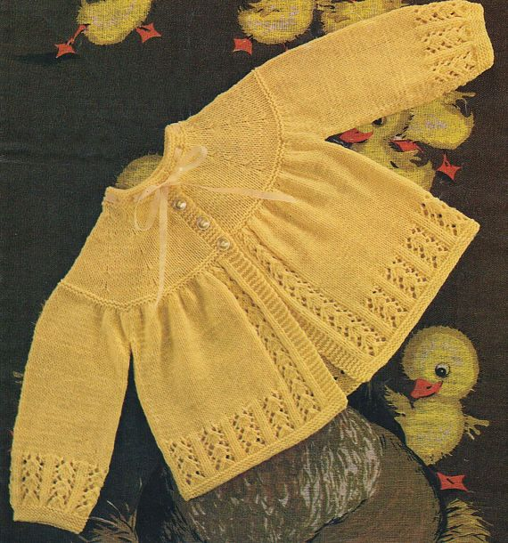 Baby Matinee Coat to knit 3 sizes to fit chest: 17-18-19 Yarn: 4 ply, Double Knit or Quickerknit Your PDF pattern will be emailed to your etsy email address asap. You will need Adobe Reader on your computer in order to view and print the PDF file. You can download it for free at: