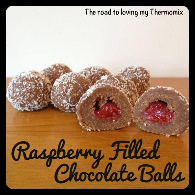 Raspberry Filled Chocolate Balls - Yummo! Great at Xmas maybe