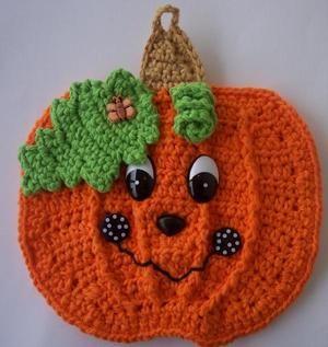 Cute Crochet Fall Pumpkin Potholder - use photo for inspiration (no pattern).