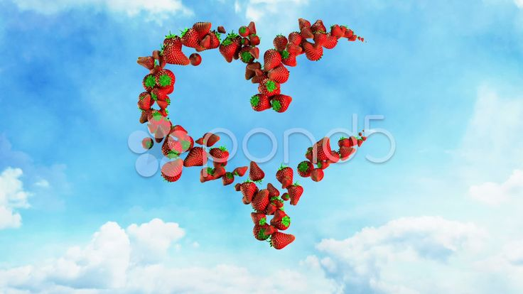 I Love Fresh Food - Strawberry Heart on Sky - Stock Footage | by maraexsoft