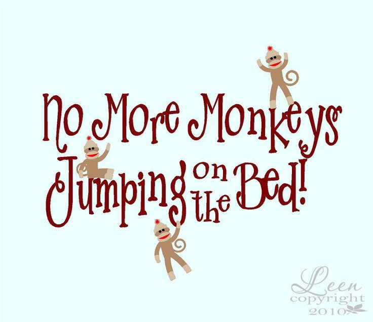 Sock Monkeys No More Monkeys Jumping on the Bed Wall Decal. $40.00, via Etsy