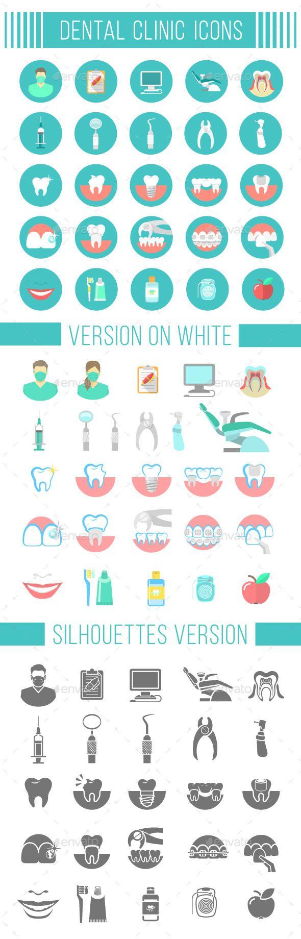 Dental Clinic Services Flat Icons - Miscellaneous Icons iconos dentales que nos ayudan a explicar a nuestros pacientes www.clinicadentalmagallanes.com