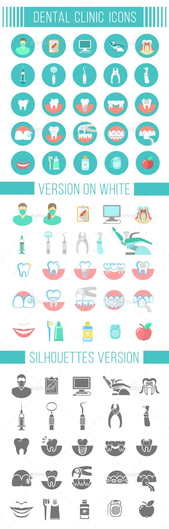 Dental Clinic Services Flat Icons - Miscellaneous Icons