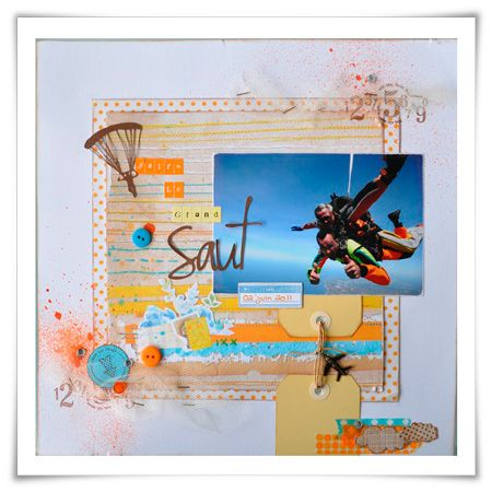 Like: Spray inks, tags connected with twine and charm.