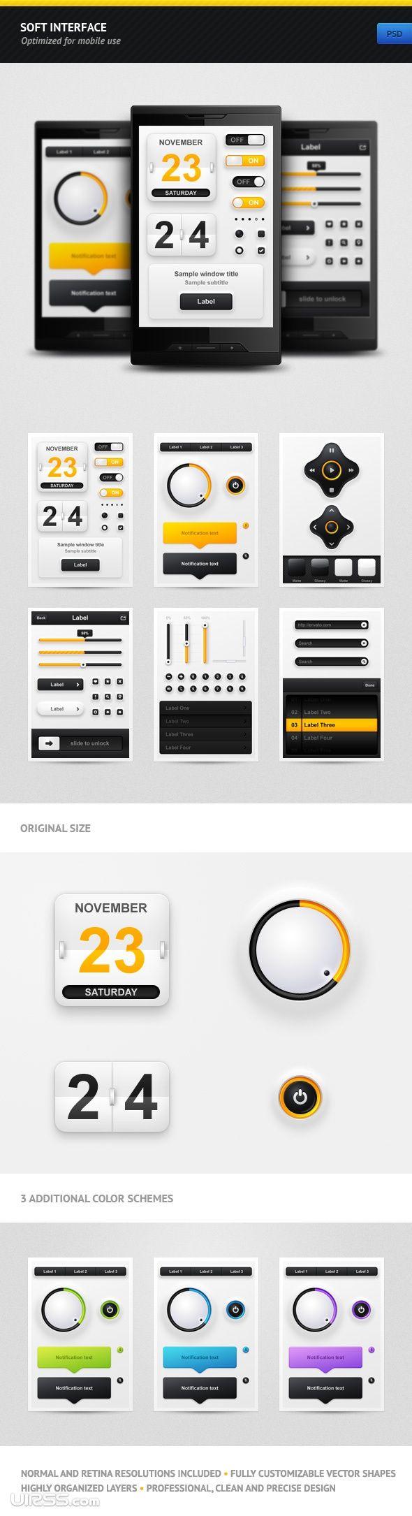 Interface elements for mobile -: Iphone App, Ui Design, Graphics Design Illustrations, Interfacedesign, Mobiles Design, User Interface, Interface Design, Soft Interface, App Design
