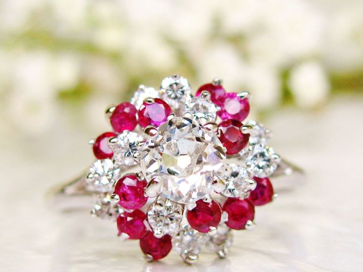 Antique Old Mine Cut Diamond Vintage Engagement Ring 0.86dtw Diamond Wedding Ring 18K White Gold Swirl Ruby Unique Diamond Cluster Ring!