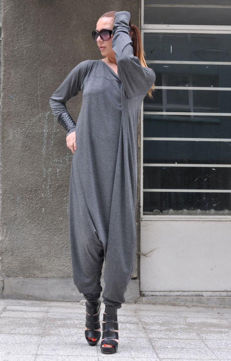New Colection-Extra Long Sleeves Grey Jumpsuit / Cotton Union Suit / Loose Casual Grey Drop Crotch Harem Pants by EUGfashion by EUGfashion on Etsy https://www.etsy.com/listing/235126234/new-colection-extra-long-sleeves-grey