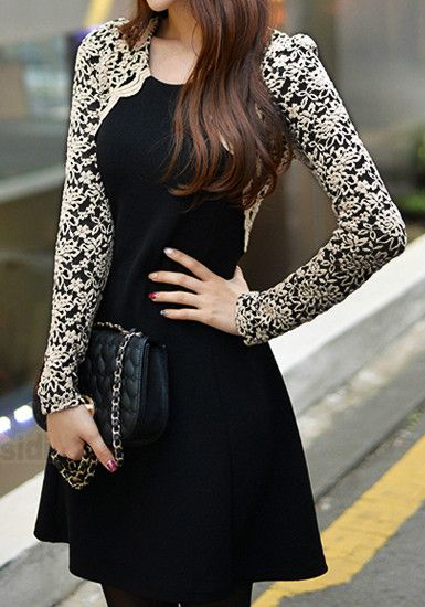 Embroidered Lace Sleeves Dress - Black