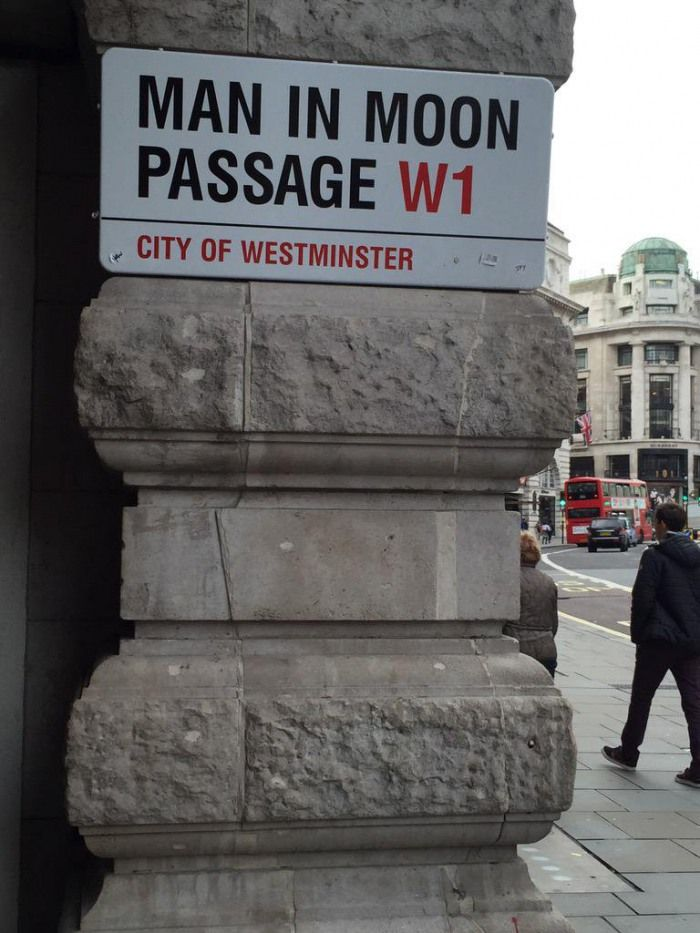 "London's best signs... ""Paraselene woman, I'm your man in the moon"""