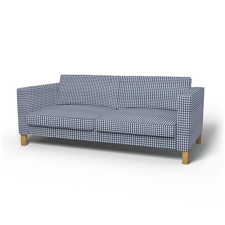 Karlstad, Housses de canapé, 3 places, Regular Fit utiliser le tissu Vreta Gingham Check Blue/White