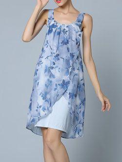 Sleeveless Floral Casual Midi Dress