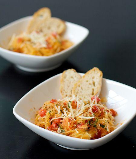 Spaghetti Squash with Tomatoes, Basil, and Parmesan