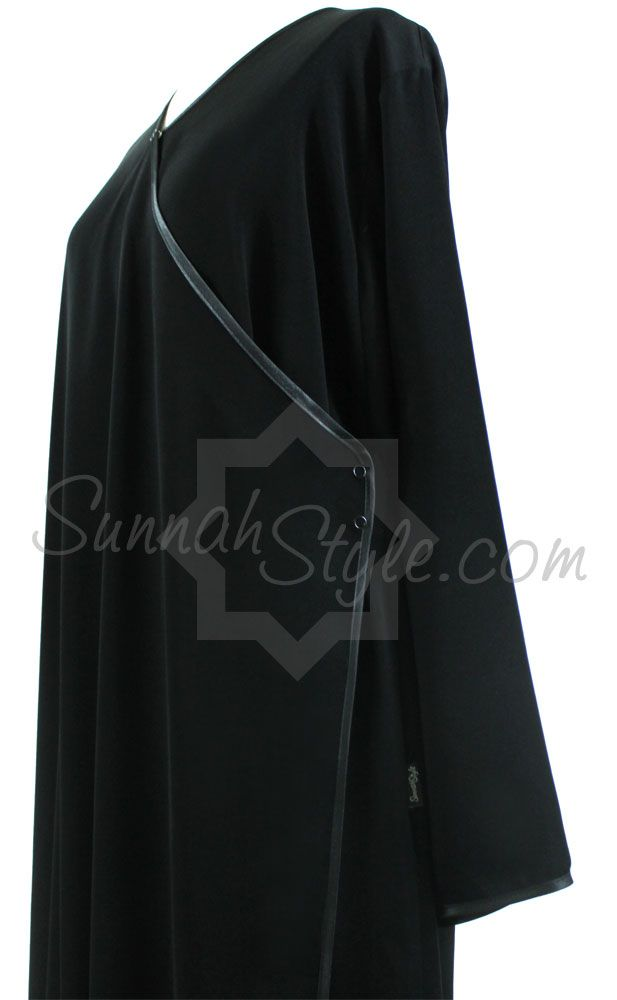 Satin Trimmed Crossover Abaya by SunnahStyle #SunnahStyle #abayastyle #IslamicClothing #satintrim