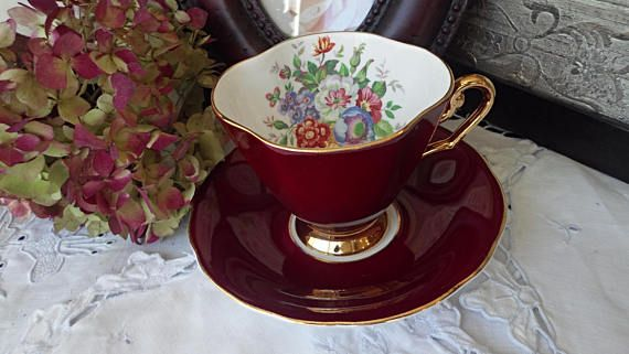 Windsor China Burgundy Red Teacup and Saucer Gold Footed