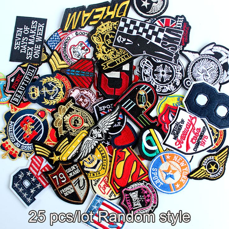 25pcs wholesale mixed sizes random assorted Motif patch embroidered badge patches sew on iron on clothes appliques DIY accessory