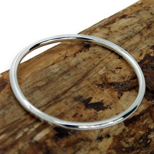 Pura Mexico Plain Sterling Silver Bangle - Traditional
