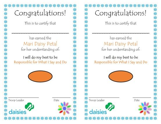 39 best Daisy certificates images on Pinterest Girl scout - congratulations certificate