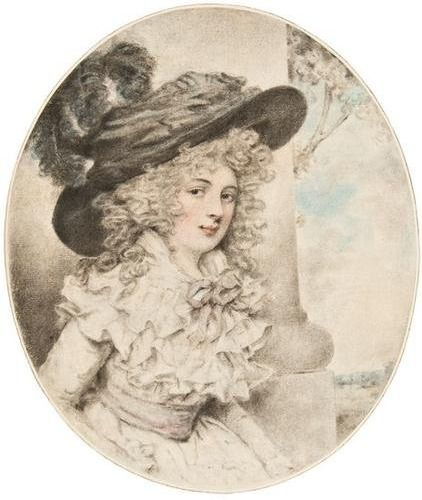 Portrait of a lady said to be Lady Bessborough by John Downman. I love the curls and frills.