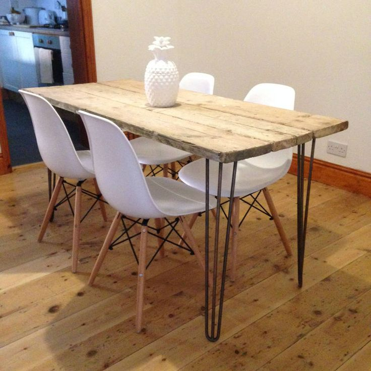 A striking, elegant dining table made from reclaimed scaffolding boards and hairpin legs.The reclaimed scaffolding boards rest on four beautiful, elegant bare steel haprin style legs. The baords, sourced from the local area around our workshop, are treated and sanded smooth but a rustic, textured look still remains. The table in the photos has 28inch 3-prong hairpin legs giving the table an approximate height of 75cm. You can choose to have your table with any height legs. For bespoke…