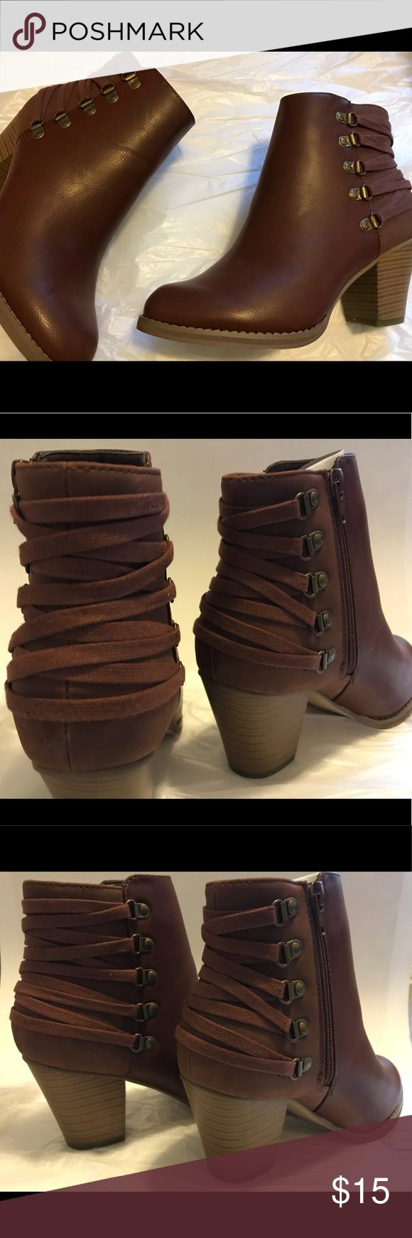 """Lace Back Booties 🔥🔥👢👢💄💄 New in box, never worn Landy Cognac US 8.5 Heel measures 3"""", platform is about 1/2"""" Smooth finish, inside zipper, adorable lace back Match these with leggings or skinny jeans and a moto jacket!! ShoeDazzle Shoes Ankle Boots & Booties"""