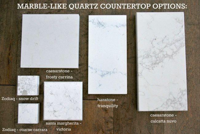 Kitchen Quartz counter options that resemble marble