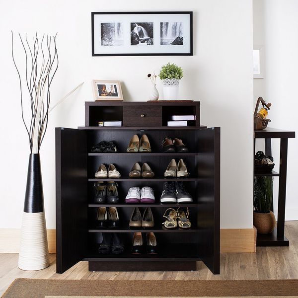 Organize your entryway and keep your home tidy with this sturdy and attractive enclosed shoe cabinet. With five wide shelves inside, this espresso shoe cabinet provides plenty of room to house shoes f