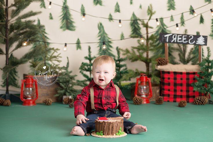 Baby Boy In Lumberjack Themed Baby Cake Smash Photos By