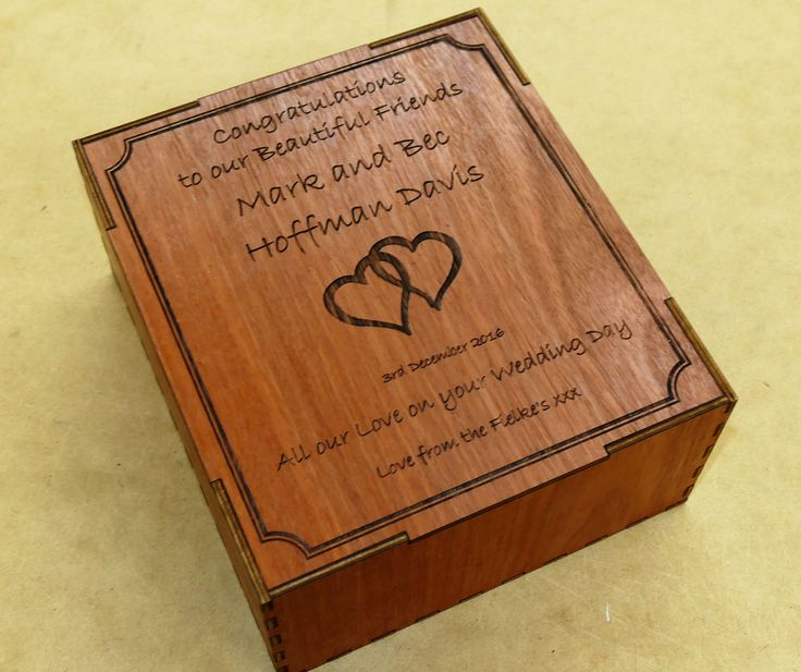 Wine glass set in custom engraved wooden box to co ordinate with glass engraving
