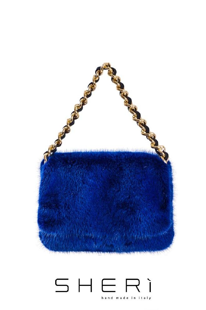 1203 - Borsa visone blu - Codice: 514 #blue #mink #bag #fashion #sheri #madeinitaly #handmade #fur #cool #look #class #night #accessories