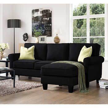 Winston Black Fabric Sofa With Reversible Chaise