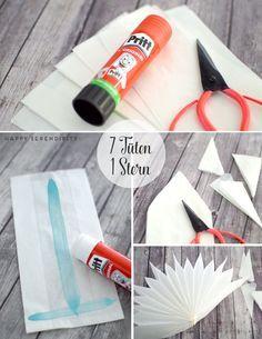 step by step anleitung stern aus butterbrotpapier, tutorial stern aus…