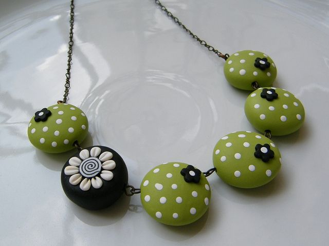 Apple Green Polka Dots Surprising Polymer Clay Necklace, via Flickr.