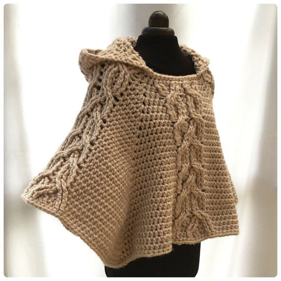 Milena Twist Cable Hooded Poncho Crochet PDF by HookedoPatterns