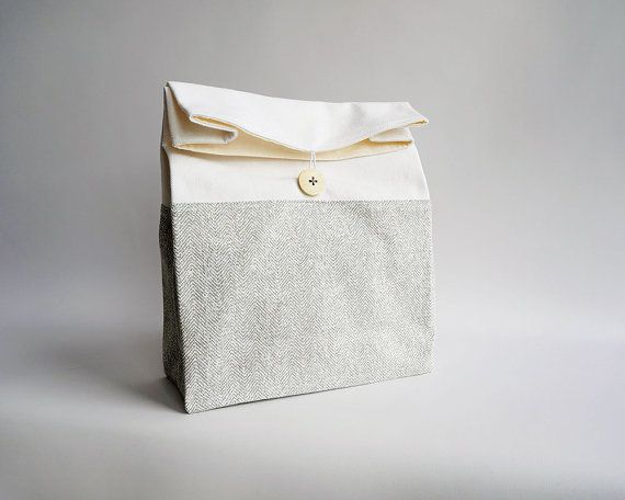 Adult lunch bag with handle / Minimalist gray lunch bag / Washable lunch bag / Chevron lunch bag / Sac déjeuner