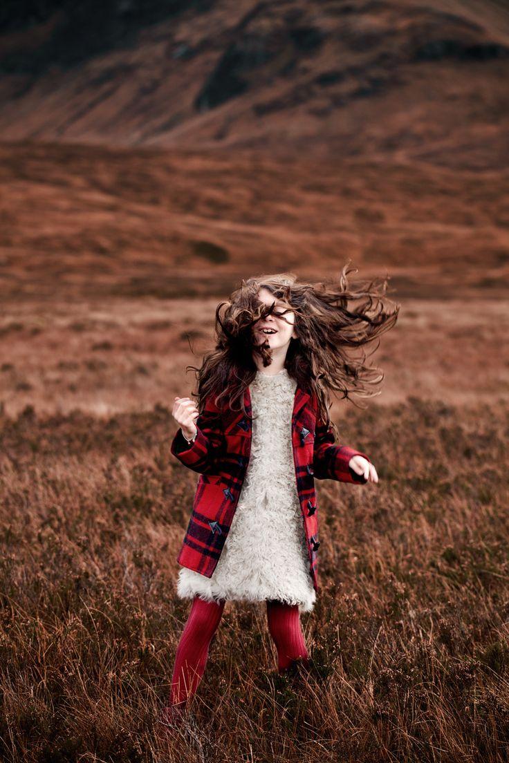 """Fashion story """"Highlands"""" MilK 38, shot by Karel Balas. Style : Isis-Colombe Combréas. Robe en agneau de Mongolie, Gabriel et Valentin c/o Le Printemps Haussmann. Duffle--coat, Le Petit Marcel. Collants, Start-rite."""