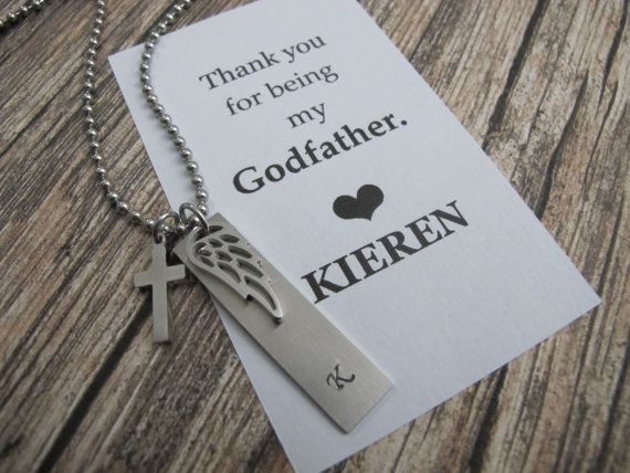 Godfather Gift  Personalized initial Necklace Bar necklace