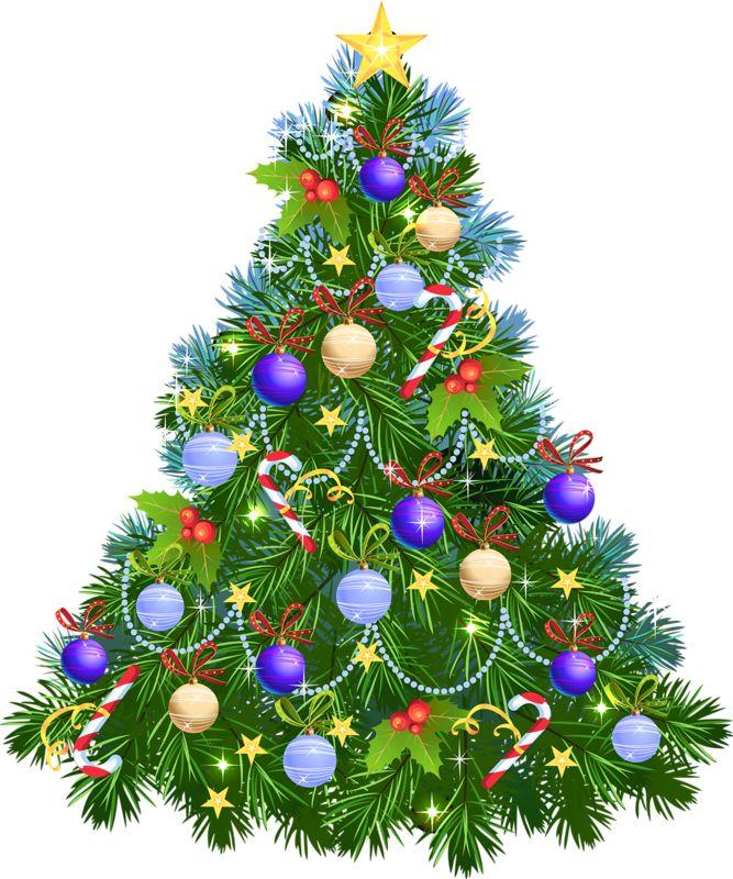 Открытка нарядная елка