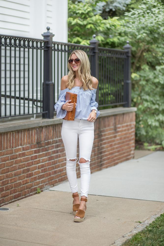 Blue seersucker off shoulder top and white jeans
