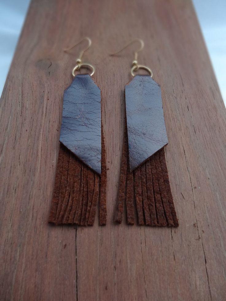 Leather fringed earrings - boho style by thingsofgemstone on Etsy
