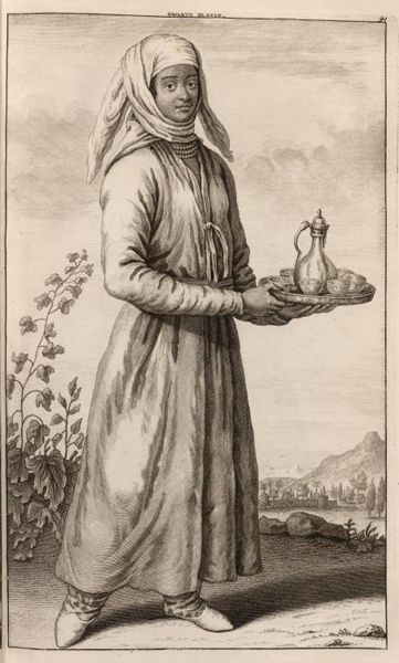 Enslaved Black Woman in Iran, 1714  People from Eastern Africa were brought to Khuzistan in southwestern Iran to work in sugarcane plantations.  Females were employed as wet nurses and nannies. Many also served as concubines; under Islamic law their own children, called khanazad (house-born), became members of the slaveholder's family.
