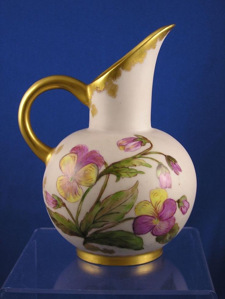 jean pouyat jp limoges pansy motif pitcher c 1890 1932. Black Bedroom Furniture Sets. Home Design Ideas