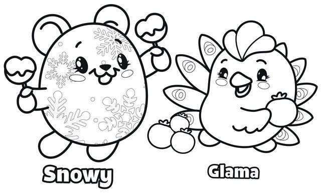 Best Snowy And Glama Coloring Page Of Pikmi Pops