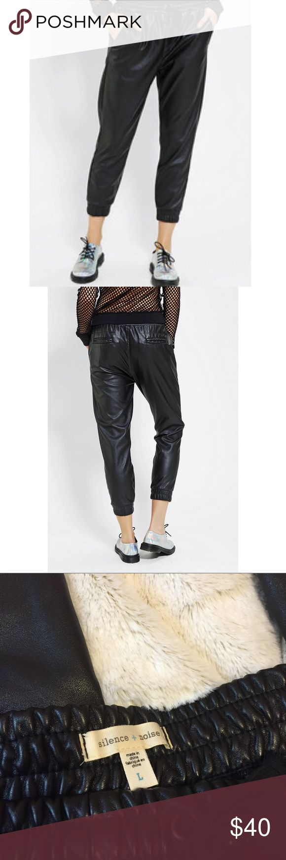 Silence + Noise UO Vegan Leather Joggers New without tags. Vegan leather joggers. From urban outfitters . Excellent condition. Drawstring joggers. Very comfortable. Pockets in front and back. Size L silence + noise Pants Track Pants & Joggers
