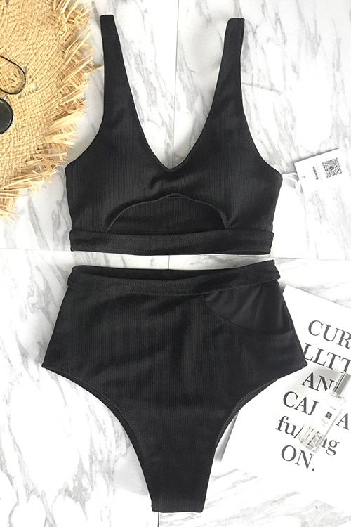 No matter at the poolside or the beach, you must need a delicate bathing suit like this. Timeless solid black and high-waisted design gonna let you feel comfortable and confident all day long! FREE shipping! SHOP NOW~