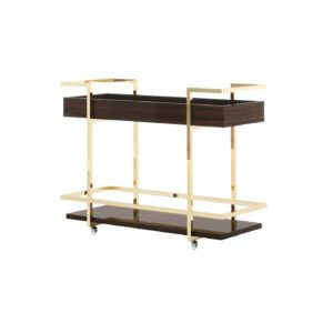 Janice Serving Cart   Laskasas   Decorate Life   Living Room Decor Ideas   www.laskasas.com     Serving cart with 2 wooden shelves and metal frame. It is presented here in 2 different versions, with walnut finish with polished stainless steel frame.