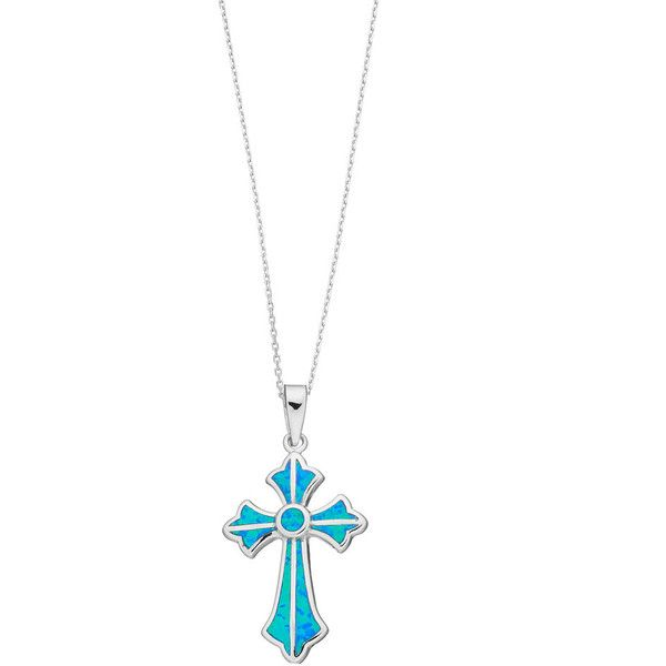 Sterling Silver Lab-Created Blue Opal Cross Pendant ($50) ❤ liked on Polyvore featuring jewelry, pendants, blue, opal pendant, cross pendant, chain pendants, sterling silver cross pendant and enhancer pendant