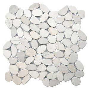 White Sliced Pebble Tile – Pebble Floors - Perfected - Beyond Tile