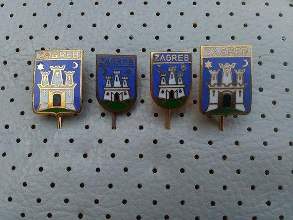 f3cc71890567 Zagreb Croatia Vintage Enamel Coat of Arms 4 Very Old Crests Badges Hrvatska  Travel Croatia Capitol Zagreb Souvenirs Enamel Pins Zagreb